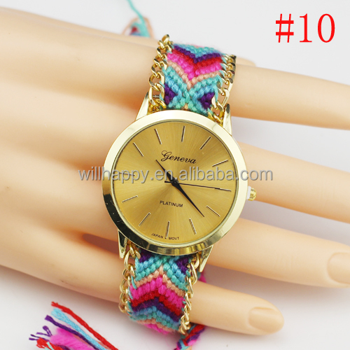 WJ-3118-1 wholesale 2015 latest fashion knitting geneva vogue fancy lady watch