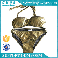 OEM Shiny Golden Fast Delivery Bikini Girls Swimwear Hot Sexy