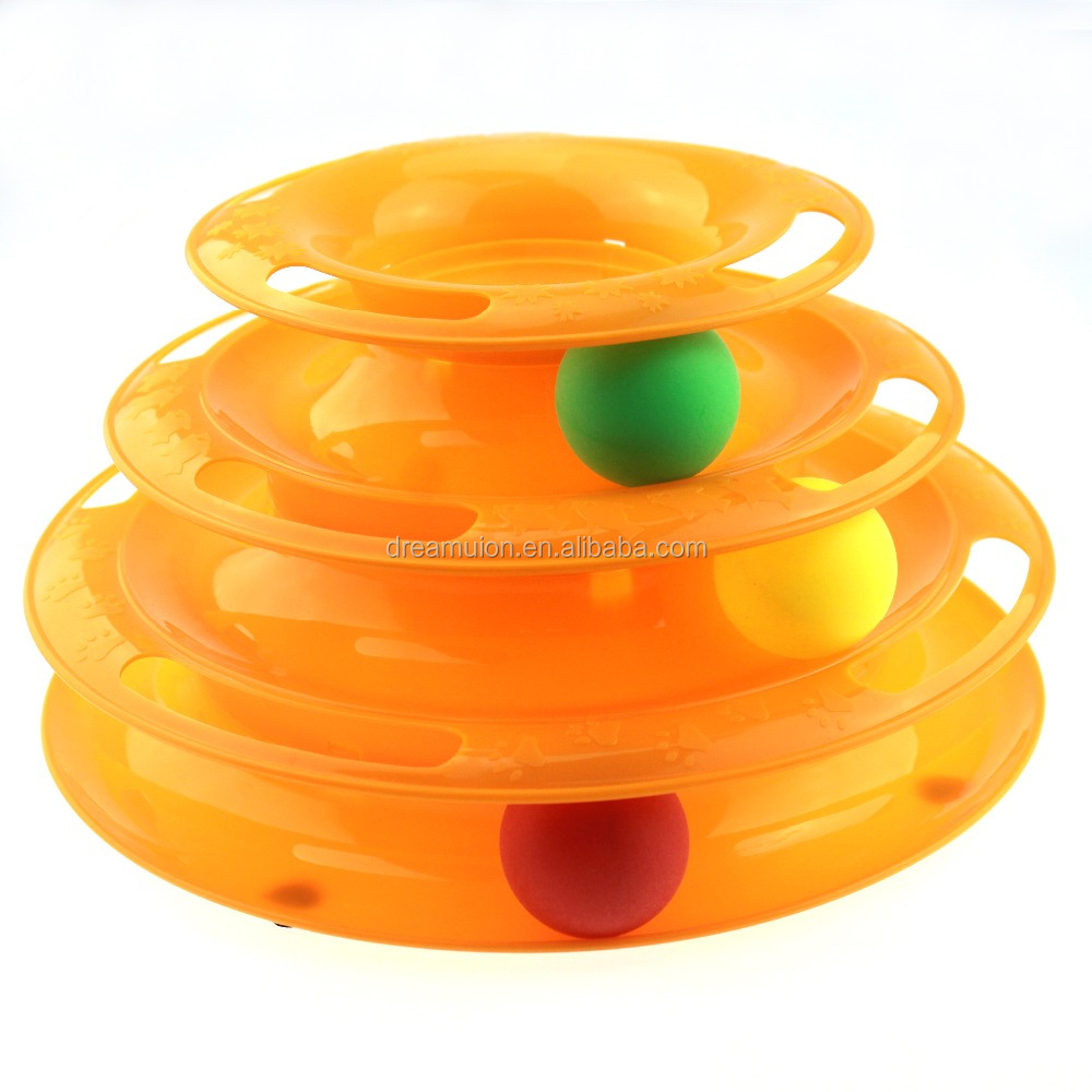 Interactive Three Layers Pet Cat Toys Intelligence Tower of Tracks w/ Balls Crazy Amusement