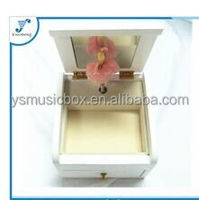 White wooden music box with dancing doll wedding favors musical box