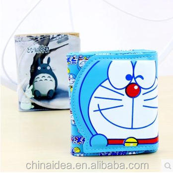 Wallet Men Women Cool PU Leather Money Fold Anime Purse Doraemon