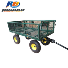 High Quality 200KG Steel Garden Mesh Tool Cart Hand Trolley 4 Wheel Trailer