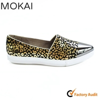 MK082-1 BLACK GOLD hot sale top nice sexy leopard upper casual shoe customized footwear manufacturer
