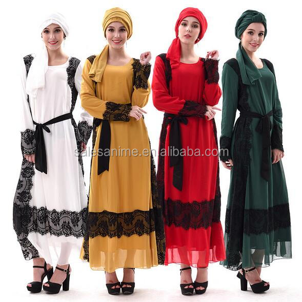 New Arrival Muslim Scarf Hijab Abaya Popular Lace Design Long Sleeves Cotton Islamic Prayer Abaya Dresses