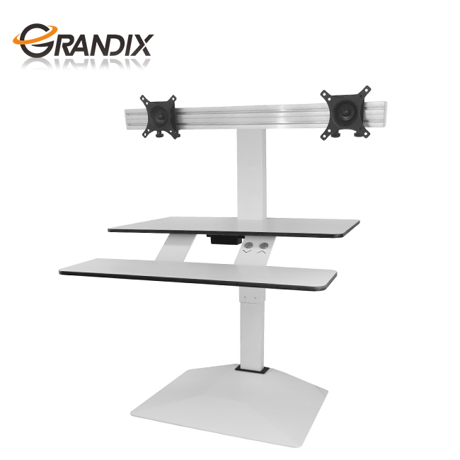 Affordable adjustable height electric computer standing desk workstation dual monitor stand