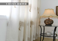 ready made wholesale eco friendly nature tree pattern embroidery fabric window curtain design