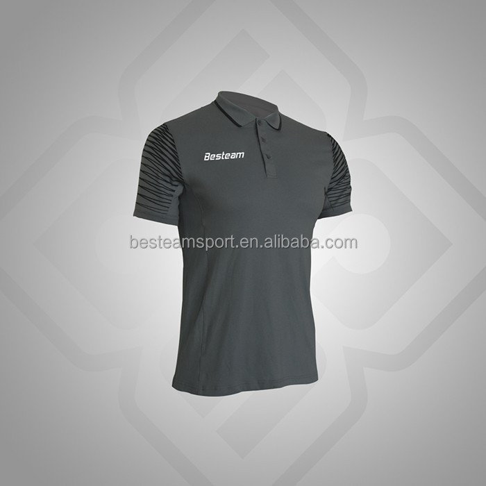 Black color Smart breathable custom polo shirts with logo