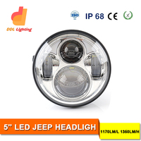 "5"" Round LED Headlight /DRL/Car Styling LED Light 40W Hi/Lo Beam Motorcycle Headlight for Harley motorcycle led driving light"