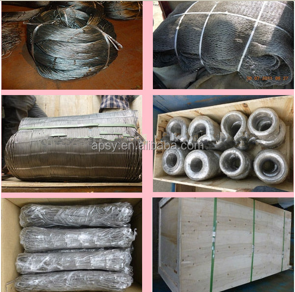 Hand-woven stainless steel wire rope mesh /flexible animal protection stainless steel cable wire mesh