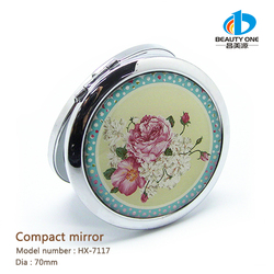 HX-7117 Plain Photo Personalized Metal Compact Mirror Handbag Cosmetic Mirror Purse Size Makeup Mirrors
