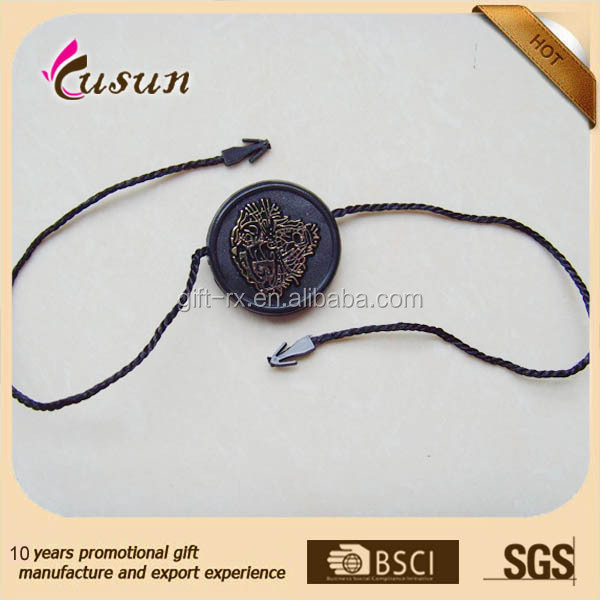 customized Garment Accessories Double Color Custom Seal Tags Hang Tag String