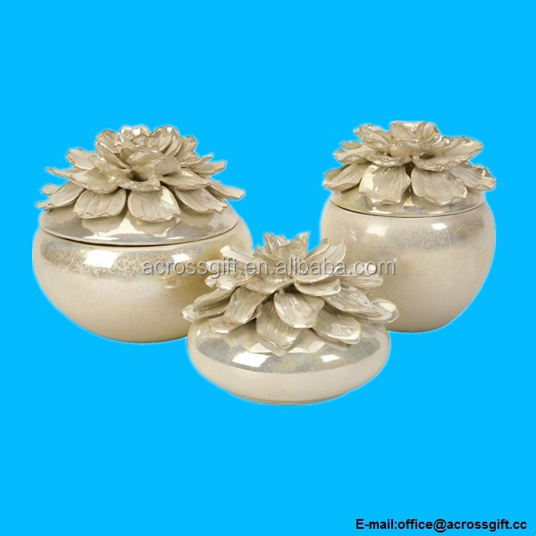 Hand-Sculpted Flower Jewelry Ceramic Boxes - Set of 3
