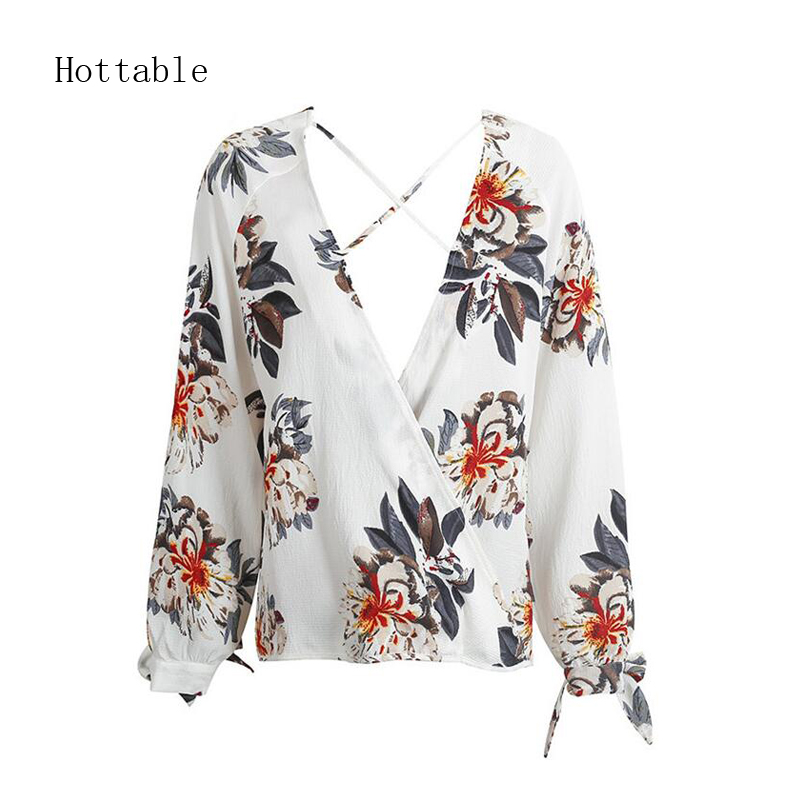 MOQ 1 PCS 2018 Summer Vintage Floral Printed Women Blouse Sexy Crossed Deep V Neck Long Sleeve Loose Shirt Sun Protected Top