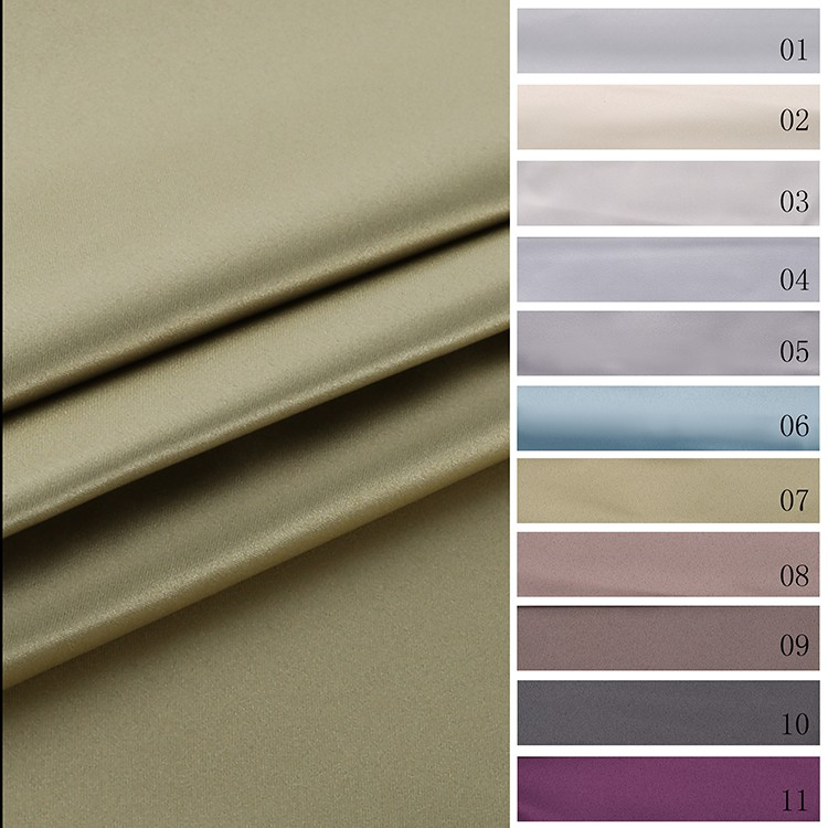 Shine Satin Material 3 Pass Blackout Fabrics for Hotel Drapery