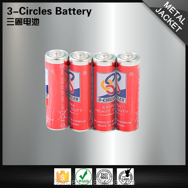 3-CIRCLES durable 1.5v r6 dry carbon zinc cell super aa battery