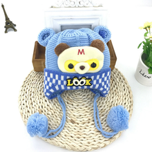 wholesale warm ear protection cartoon child winter baby knitting hat