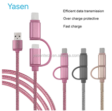 2 In 1 USB Cable 1M Braided Fast Charge & data Cable Mobile Phone USB Charger Cable For Iphone For Samsung