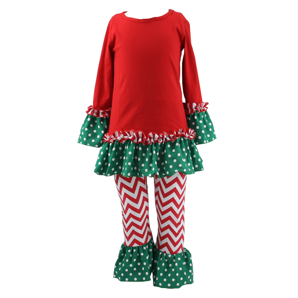 Wholesale baby clothes factory high quantity warm red top green polka dot ruffle korean style chevron pants winter baby clothes