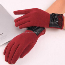 Wholesale Price Ladies Wool Gloves Leather Bow Woolen Gloves Fashion Leather Trimmed Wool Dress
