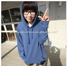 2012 new arrive women's plain pattern mexico blue cotton long sleeve pullover hoodie