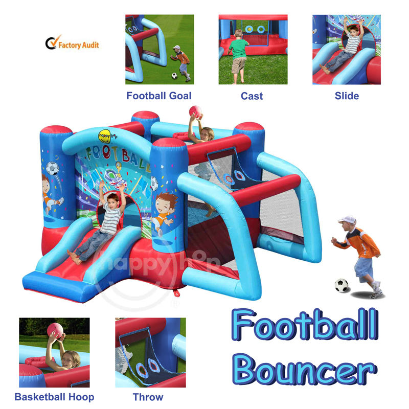 Happyhop 9187--combo inflatable football bouncer slide with Basketball Hoop