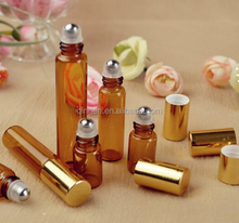 amber 10ml glass roll on bottles with stainless steel roller ball