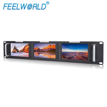 DC 12V 5 inch 800*4800 triple hd lcd monitor rack mount displays with 3G SDI input