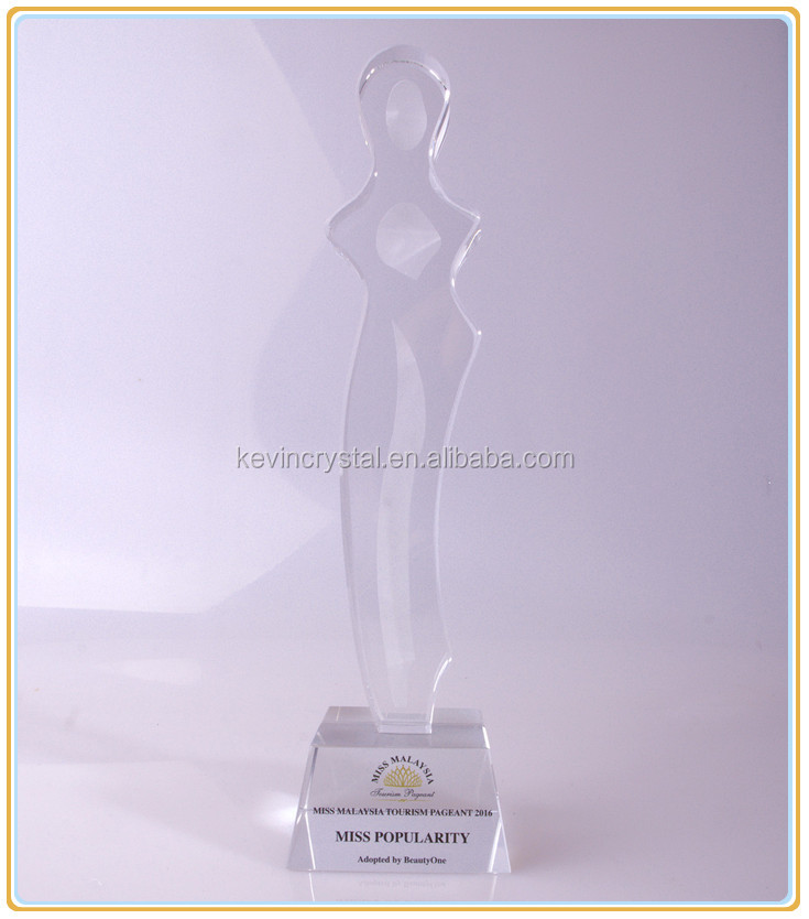 elegant lady crystal trophy awards souvenirs/crystal human figurine for miss games/TV movie games trophy awards crystal