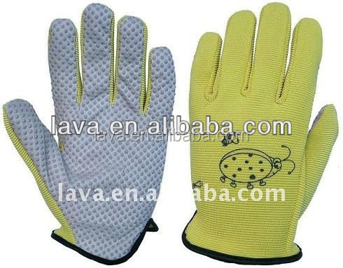 Synthetic Leather with PVC Dots Gardening Gloves cotton pvc dots working gloves
