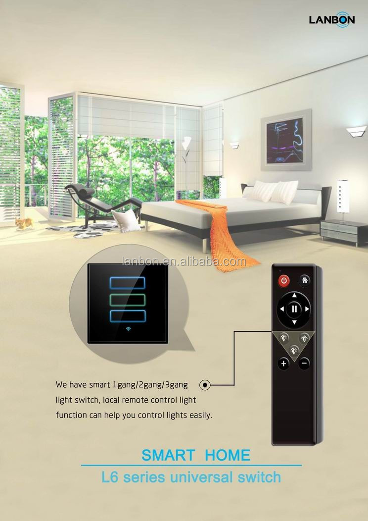 wifi smart touch switch home automation system controlled by android ios mobile work with google. Black Bedroom Furniture Sets. Home Design Ideas