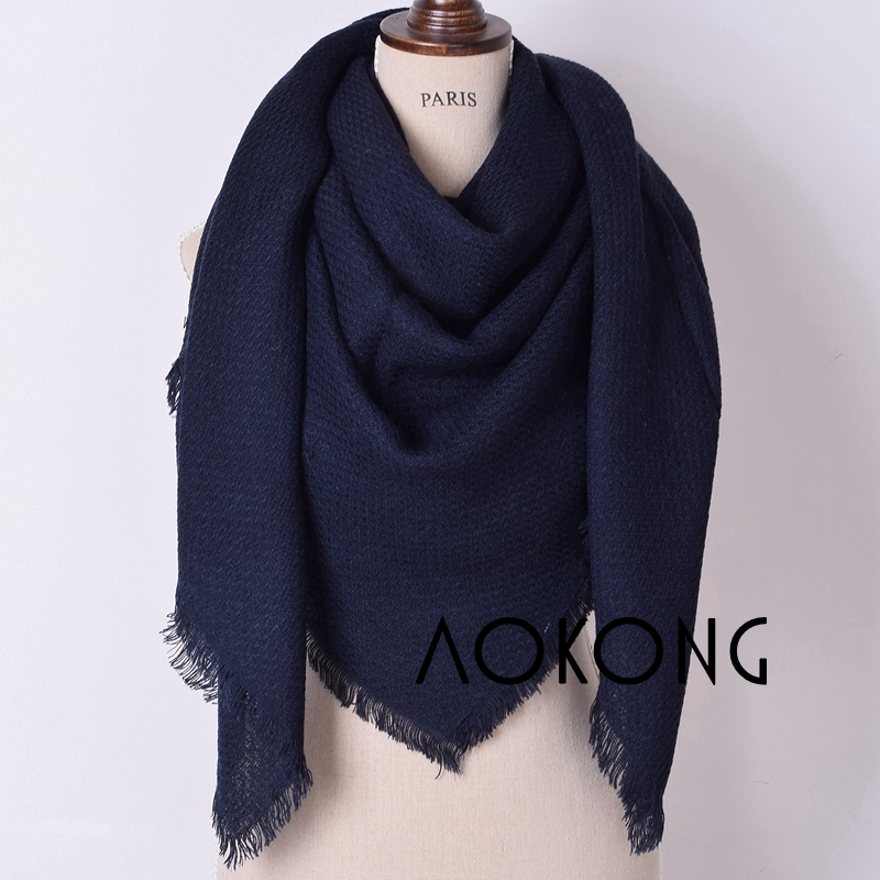 New arrival 8 colors stock large square oversize winter cape solid plain blanket scarves