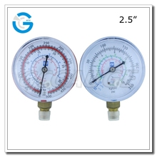 High quality 2.5inch black steel high and low pressure refrigeration gauges