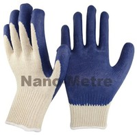 NMSAFETY Cotton Liner Latex Working Gloves coated latex gloves Latex Crinkle Gloves
