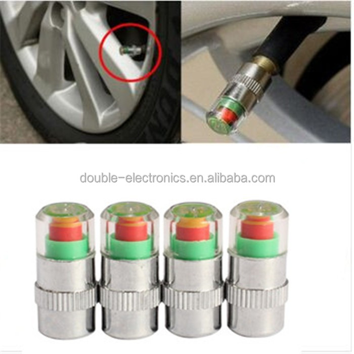 4Pcs Car Auto Tire Air Pressure Valve Stem Caps Sensor Indicator Alert Bike