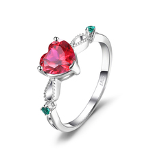 JewelryPalace Fashion 1.7ct Created Ruby 3 Stone Ring 925 Sterling Silver