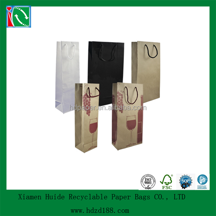 2015 OEM printed wine bottle paper bag