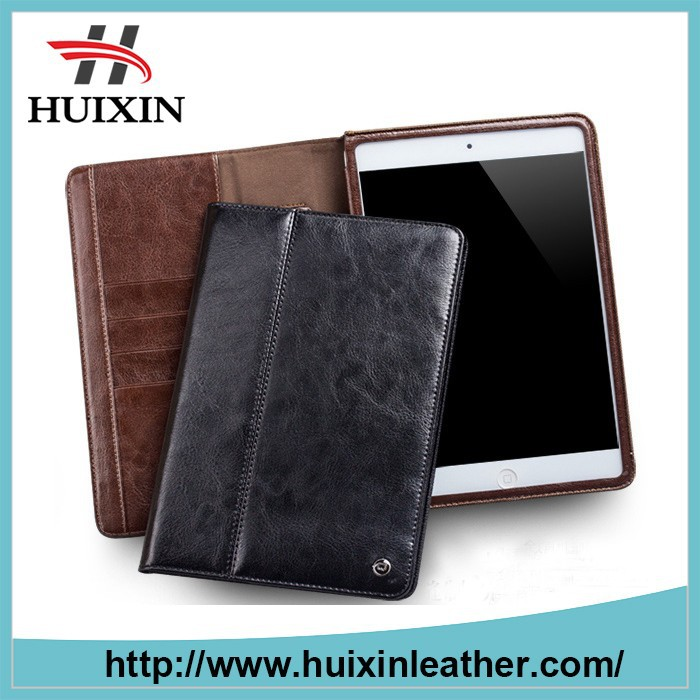 tablet leather case for ipad air2 / cowhide leather book cover for ipad air2
