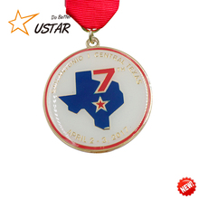 Cheap custom make your own logo enamel marathon running award metal medal with ribbon