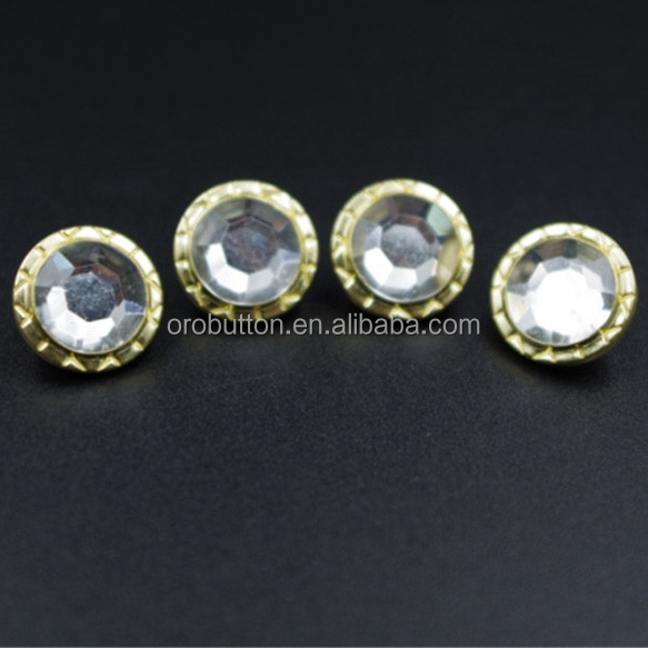 Electroplating nickle diamond cap snap button with golden side