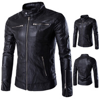 2017 New men British High quality Collar Motorcycle Punk Leather Jacket with cheap price