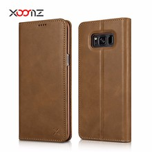 XOOMZ Flip Genuine Leather Wallet Phone Case for Samsung Galaxy S8