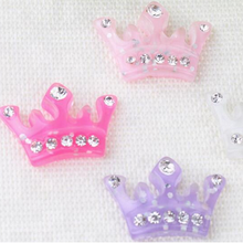 Wholesale Glitter <strong>Crown</strong> with rhinestone flatback resin cabochons kawaii for DIY Embellishments