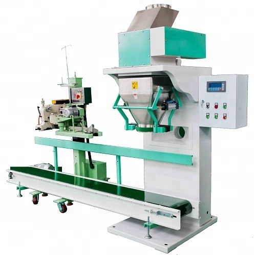 Semi-Automatic packaging systems packing machine grain seed <strong>rice</strong> wheat granules wood pellets plastic 25kg 50kg 150bags per hour