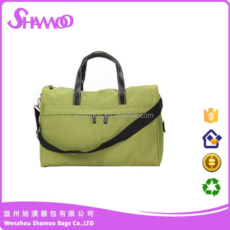 Nylon portable travel bag fashion waterproof gym bag pu leather handle design
