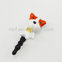 Wholesale Funny decorated DOG animal custom cell phone ear cap anti dust plug MCD-0045