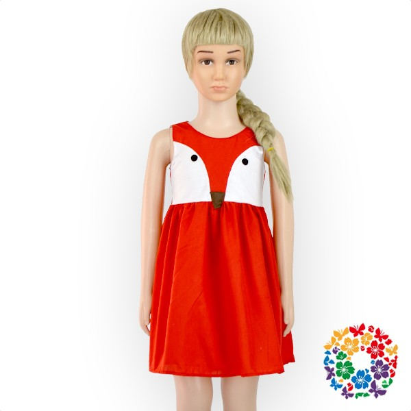 Chidren Girls Sleeveless Summer Party Red Fox Smoking dress