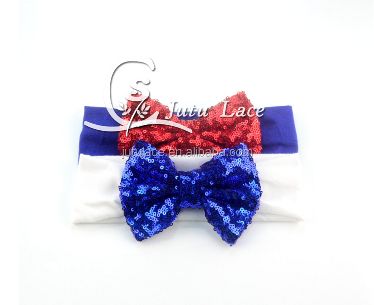 New Hot !! Children's hair bow hair with Sequin cotton baby girls Christmas headdress hoop 20 colors