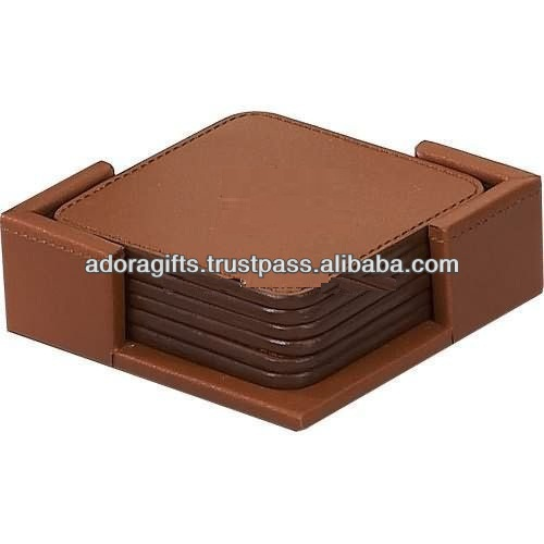 super quality coaster for wedding gifts / brown leather coasters / glass coaster