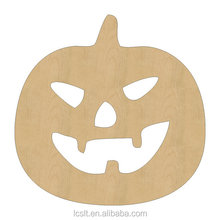 china wholesale laser cutout wood halloween pumpkin for party