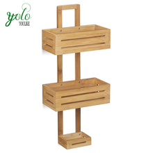 Bathroom Bamboo Hanging Shower Caddy with 3 Shelves Baskets